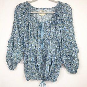 Denim & Supply RL Boho blue floral peasant top